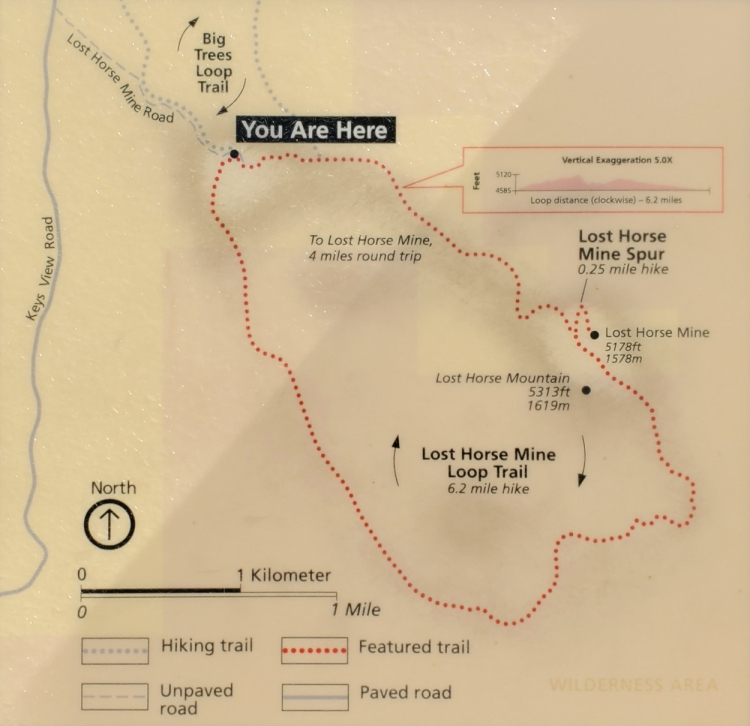 A map of the Lost Horse Mine trail