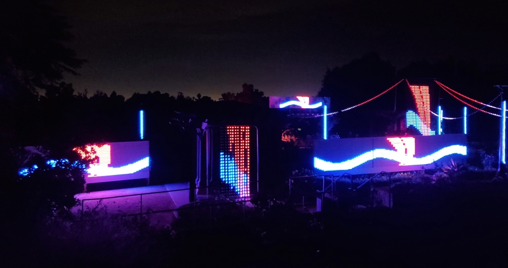 the light show at the rose garden in south coast botanic garden