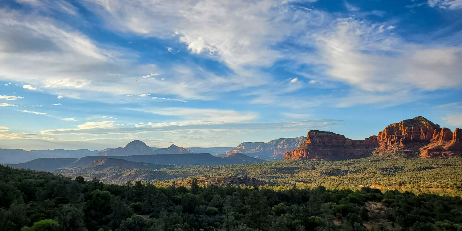 A view across the red rocks in Arizona