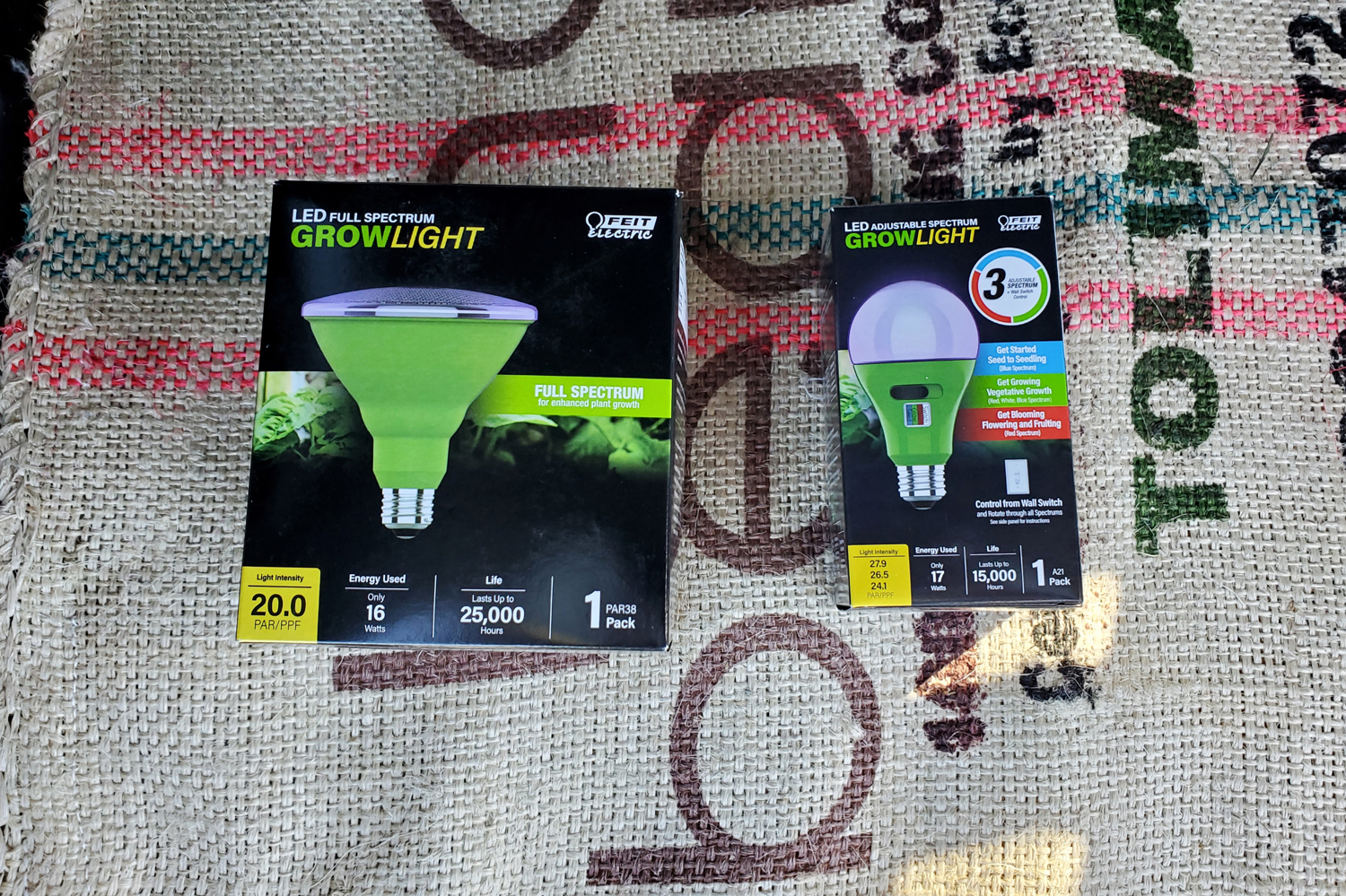 Two LED grow lights - one full spectrum and one adjustable