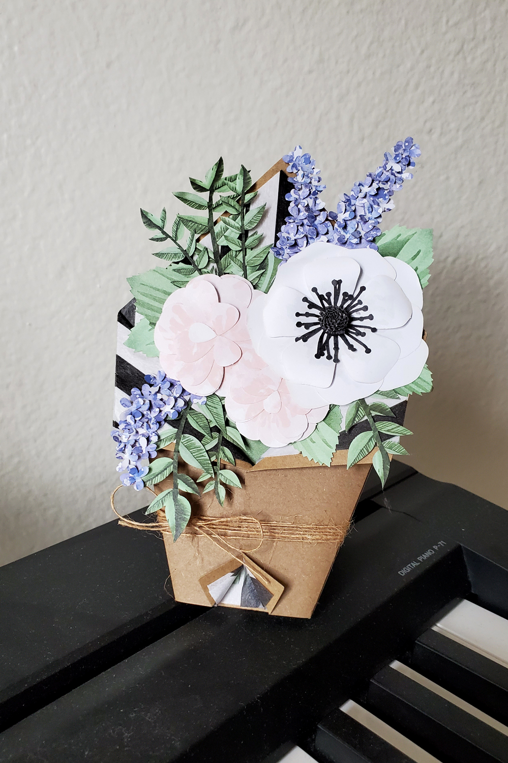 A beautiful papyrus card - flowers made of paper
