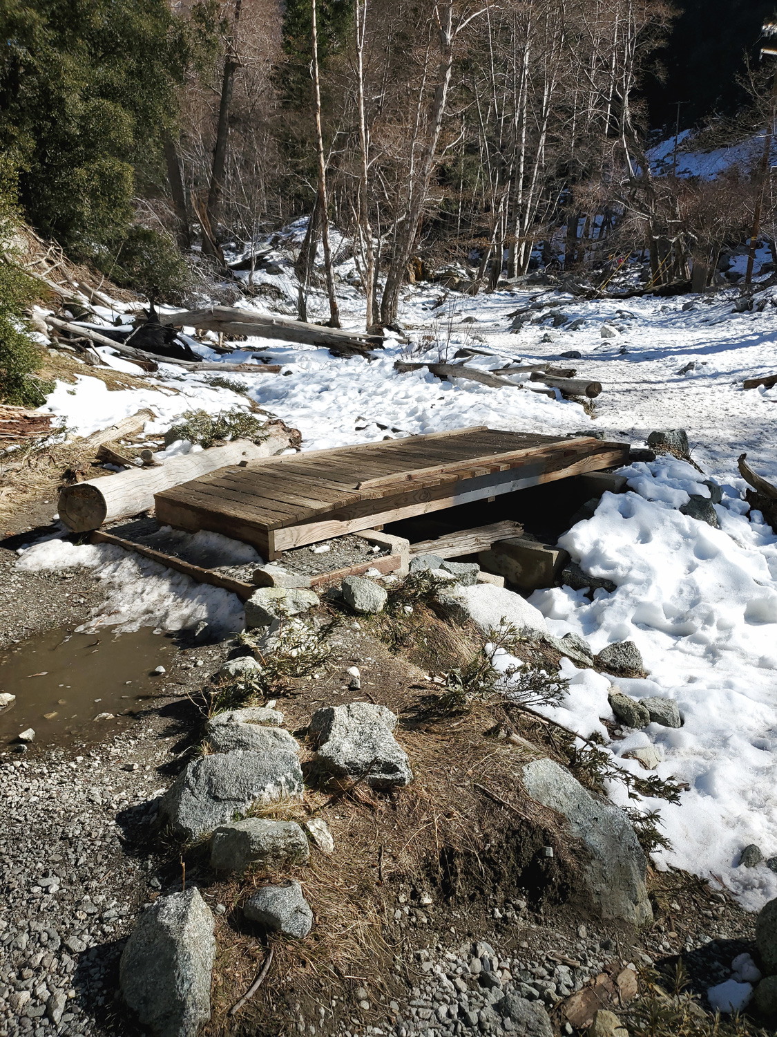 A short bridge over a snow-filled ditch on the Icehouse Canyon Trail
