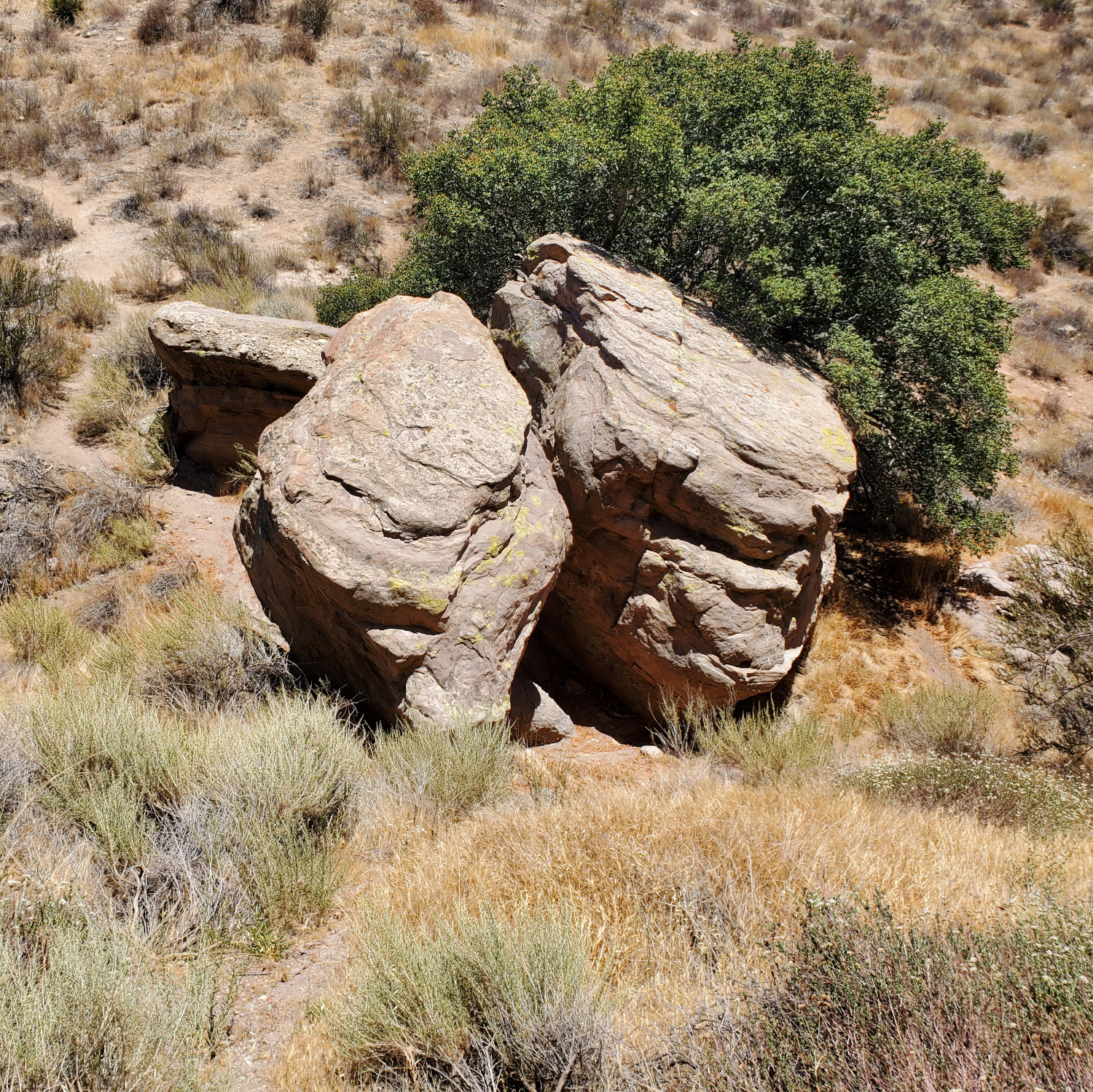One of the rare patches of shade under a pile of large rocks
