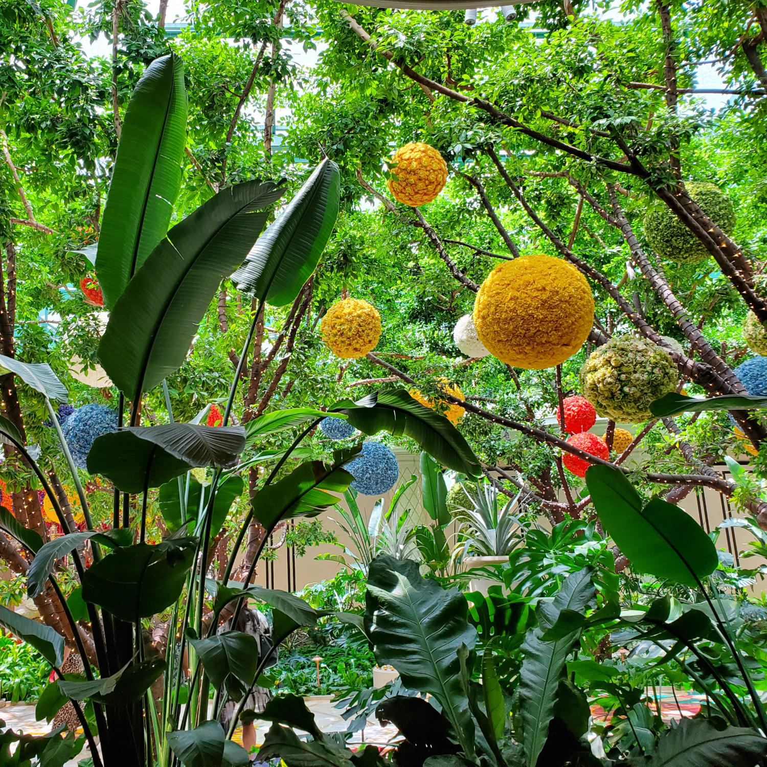 An indoor jungle near the entrance to a Las Vegas hotel