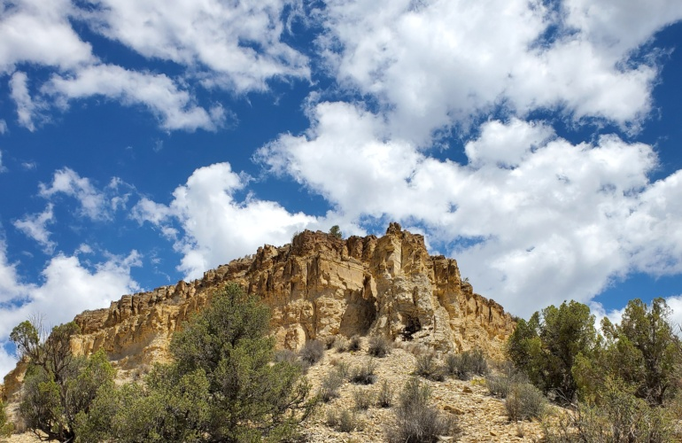 An amazing stone outcropping overlooking a trail in Utah